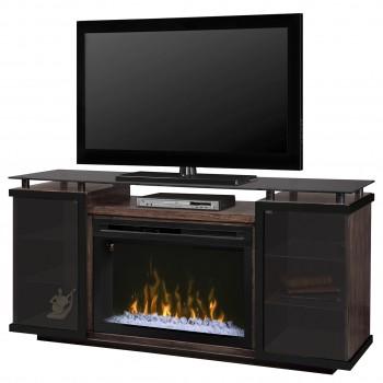 "Aiden Media Console, Peppercorn Charcoal Finish, PF3033HG 33"" Acrylic Ice Firebox"