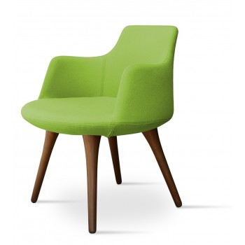 Dervish Wood Dining Chair, Solid Beech Walnut Color, Pistachio Camira Wool by SohoConcept Furniture
