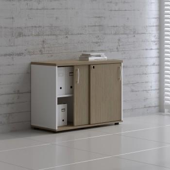 Sliding Doors Storage Unit A2P05, White + Canadian Oak