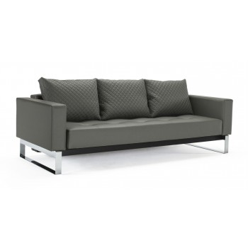 Cassius Quilt Deluxe Full Size Sofa Bed, 585 Leather Look Grey PU + Chromed Legs