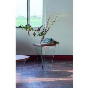 Aida Side Table, Clear Transparent Glass Base, Canaletto Walnut Wood Top