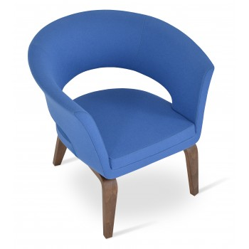 Ada Plywood Base Armchair, Walnut Finish, Sky Blue Camira Wool by SohoConcept Furniture