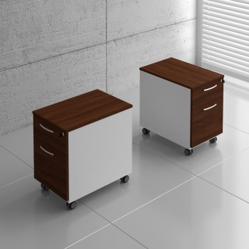 Basic KKT12 Mobile Pedestal w/Files Drawer, White + Lowland Nut