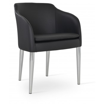 Buca Metal Armchair, Black Leatherette by SohoConcept Furniture