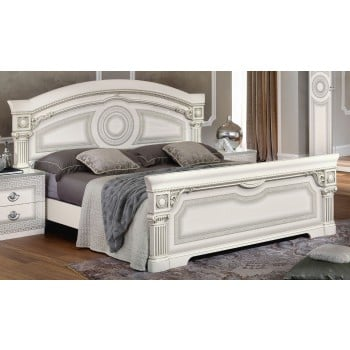 Aida King Size Bed, White