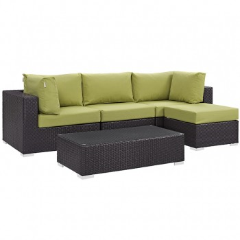Convene 5 Piece Outdoor Patio Sectional Set, Сomposition 4, Espresso, Peridot by Modway