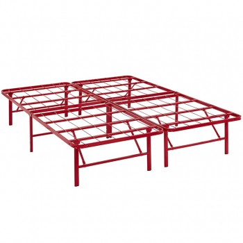 Horizon Queen Stainless Steel Bed Frame, Red by Modway