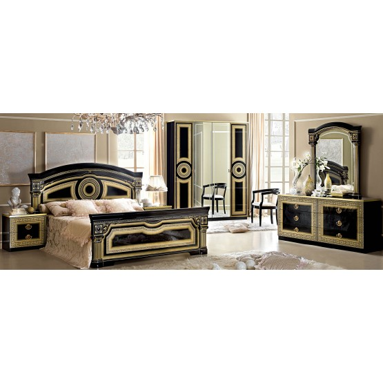 Aida Queen Size Bedroom Set, Black + Gold