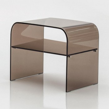 Anemone Side Table with Bronze Transparent Glass Shelf, Bronze Transparent