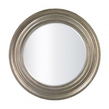 Fullerton Round Mirror In Antique Silver Leaf