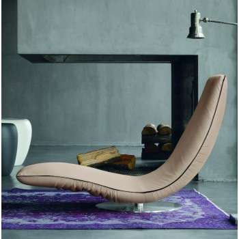 Ricciolo Chaise Lounge, Beige Eco-Leather