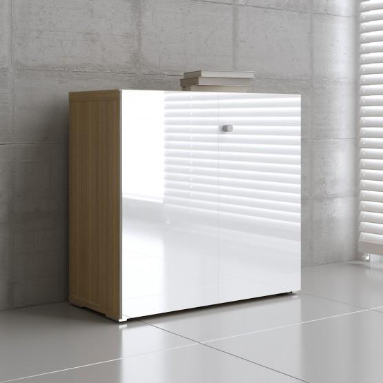 Mito 2-Door Storage MIT21, Light Sycamore + White High Gloss photo