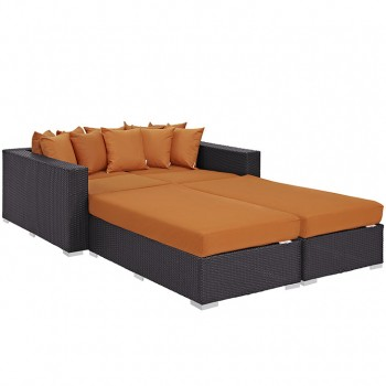 Convene 4 Piece Outdoor Patio Daybed, Espresso, Orange by Modway