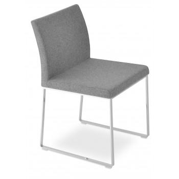 Aria Sled Dininng Chair, Medium Grey Camira Wool by SohoConcept Furniture