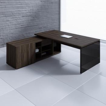 Mito Executive Desk w/Managerial Side Storage MIT1, Dark Sycamore + Black High Gloss
