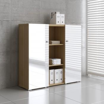 Mito 2-Door Storage MIT20, Light Sycamore + White High Gloss