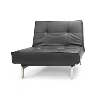 Splitback Chair, 582 Leather Look Black PU + Stainless Steel Legs