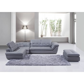 397 Italian Leather Sectional, Left Arm Chaise Facing, Grey by J&M Furniture