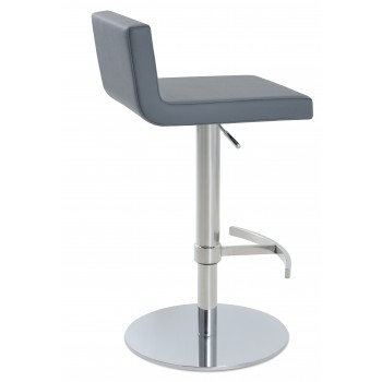 Dallas Piston Stool, T-Foot Rest, Chrome, Grey Leatherette, Round Base by SohoConcept Furniture