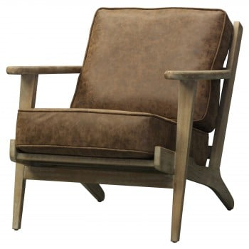Albert PU Accent Chair, Brushed Smoke Frame, Nubuck Chocolate