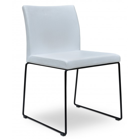 Aria Sled Dining Chair, White Leatherette, Stackable Black Base photo