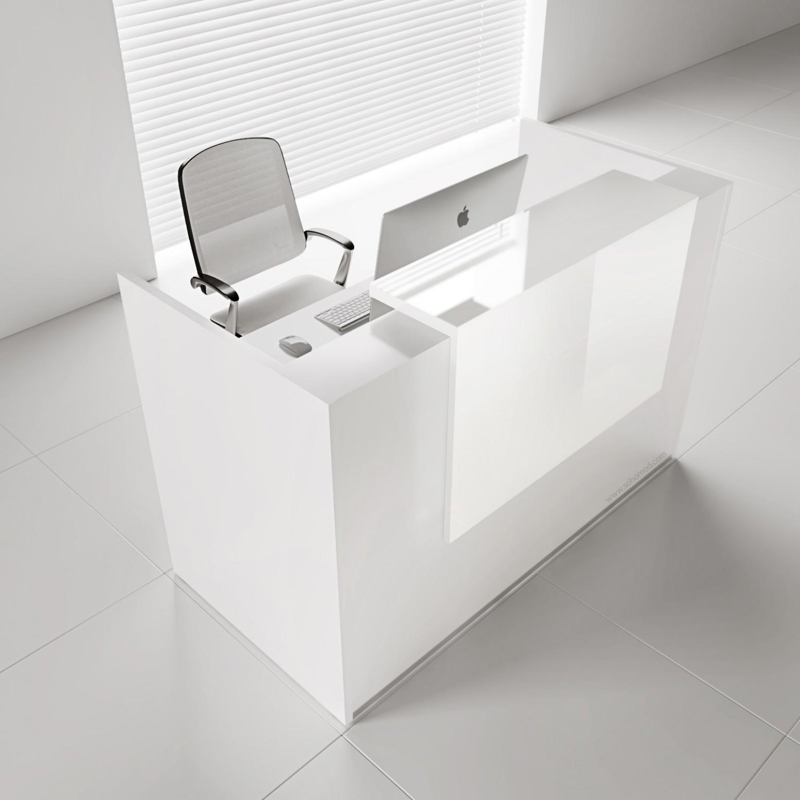 Tera TRA18 Reception Desk, White Pastel