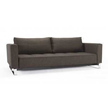 Cassius Deluxe Excess Queen Size Sofa Bed, 503 Begum Dark Brown Fabric