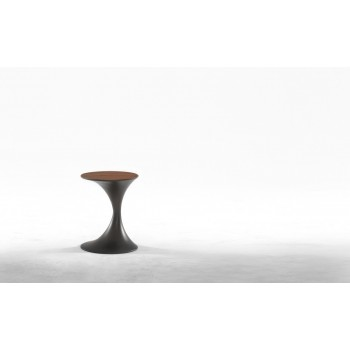 Andorra Side Table, Carbon Grey Metal Base, Canaletto Walnut Wood Top