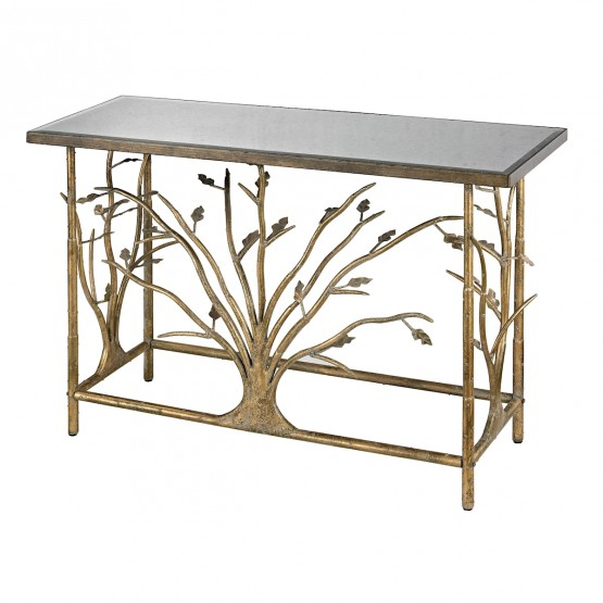 Rhyl Metal Branch Console Table In Gold Leaf With Antique Mirrored Top photo