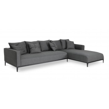 California Sectional, Large, Right Arm Chaise, Black Base, Black Pepper Fabric by SohoConcept Furniture