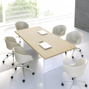 Mito Conference Table MIT11, Light Sycamore + White High Gloss