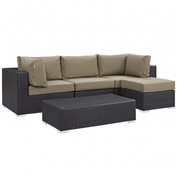 Convene 5 Piece Outdoor Patio Sectional Set, Сomposition 4, Espresso, Mocha by Modway