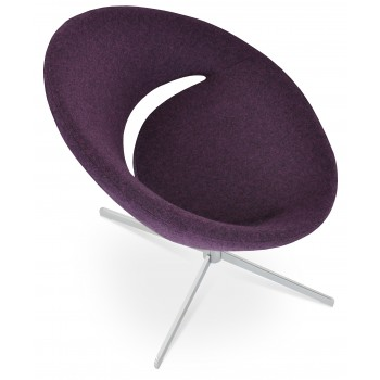 Crescent 4 Star Swivel Chair, Deep Maroon Camira Wool, Large Seat by SohoConcept Furniture