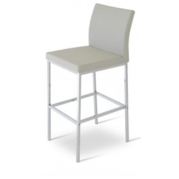 Aria Chrome Bar Stool, Light Grey Latherette by SohoConcept Furniture