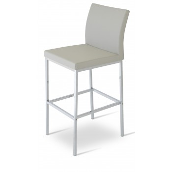 Aria Chrome Counter Stool, Light Grey Latherette by SohoConcept Furniture