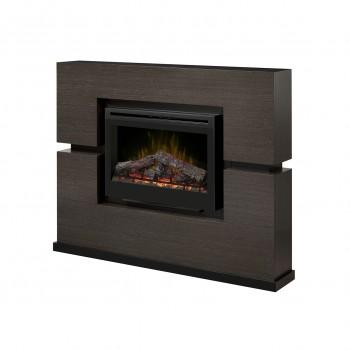 "Linwood Mantel Electric Fireplace, Rift Grey Finish, 33"" Log Set Firebox"