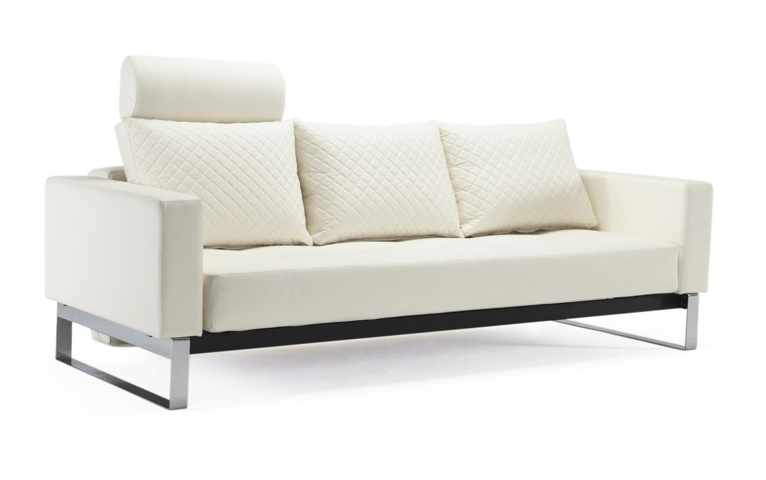 Cassius Quilt Deluxe Full Size Sofa Bed, 588 Leather Look White PU +  Chromed Legs by Innovation Living