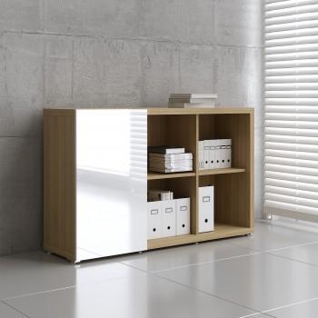 Mito Sliding Door Storage MIT18, Light Sycamore + White High Gloss