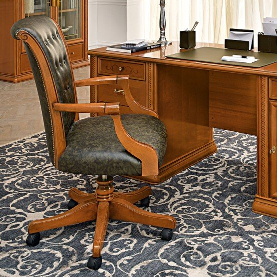 Torriani High Back Office Chair, Walnut photo