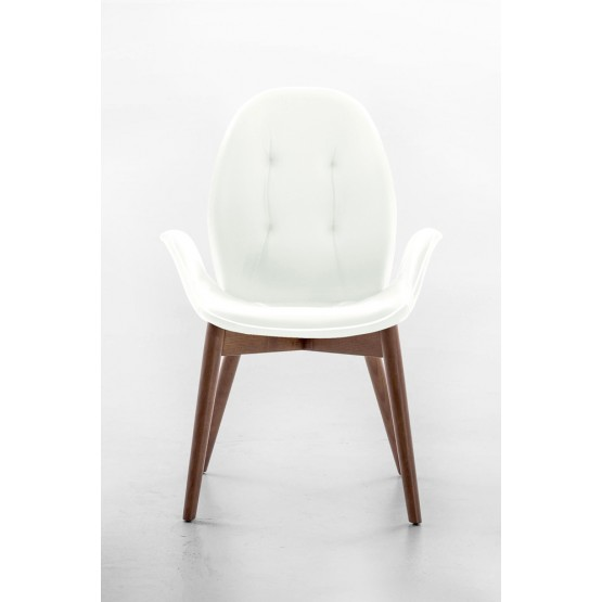 Sorrento Dining Arm Chair, Canaletto Walnut Wood Base, White Eco-Leather Upholstery, White Сreasing photo