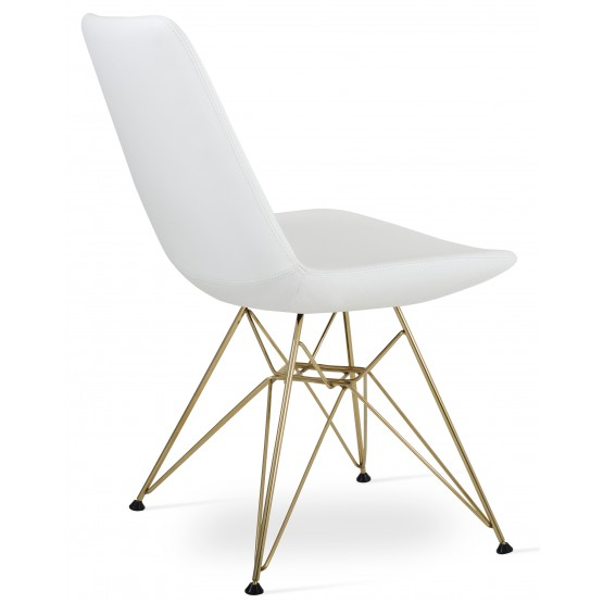 Eiffel Tower Chair, Gold Brass, White PPM photo