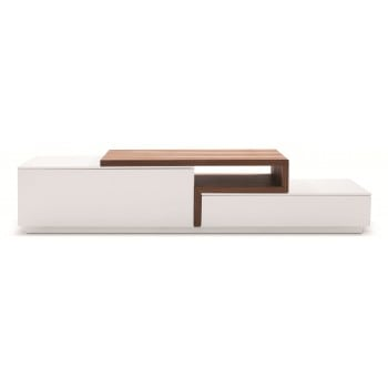 045 TV Stand, White High Gloss + Walnut by J&M Furniture