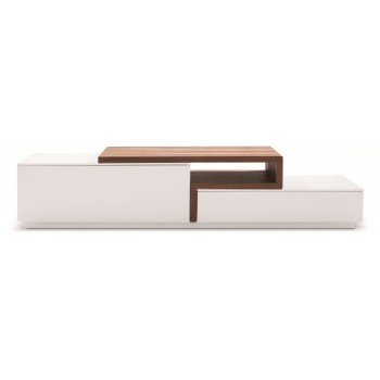 045 TV Stand, White High Gloss + Walnut by J&M Furniture