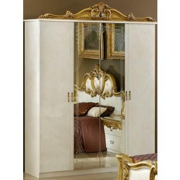 Barocco 4-Door Wardrobe, Ivory + Gold