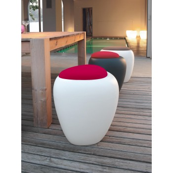 Ios Pouf, White Polyethylene Base, Cyclamen Red Orchidea Fabric