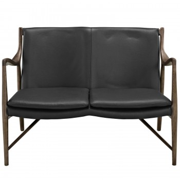 Makeshift Leather Loveseat, Black, Gray by Modway