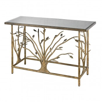 Rhyl Metal Branch Console Table In Gold Leaf With Antique Mirrored Top