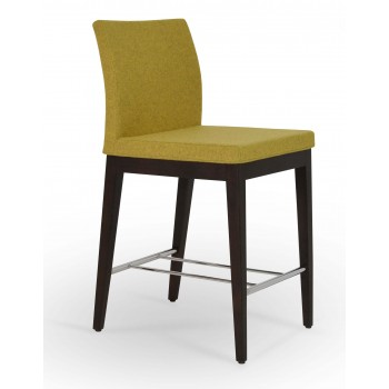 Aria Wood Counter Stool, Solid Beech Walnut Color, Amber Camira Wool by SohoConcept Furniture