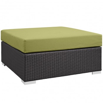 Convene Outdoor Patio Large Square Ottoman, Espresso, Peridot by Modway