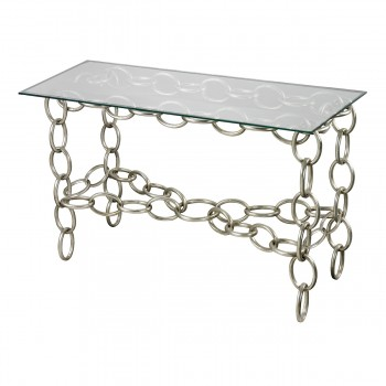 Erin Silver Chain Console Table With Clear Glass Top